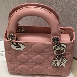 Lady Dior Mini PINK Lambskin purse with Strap